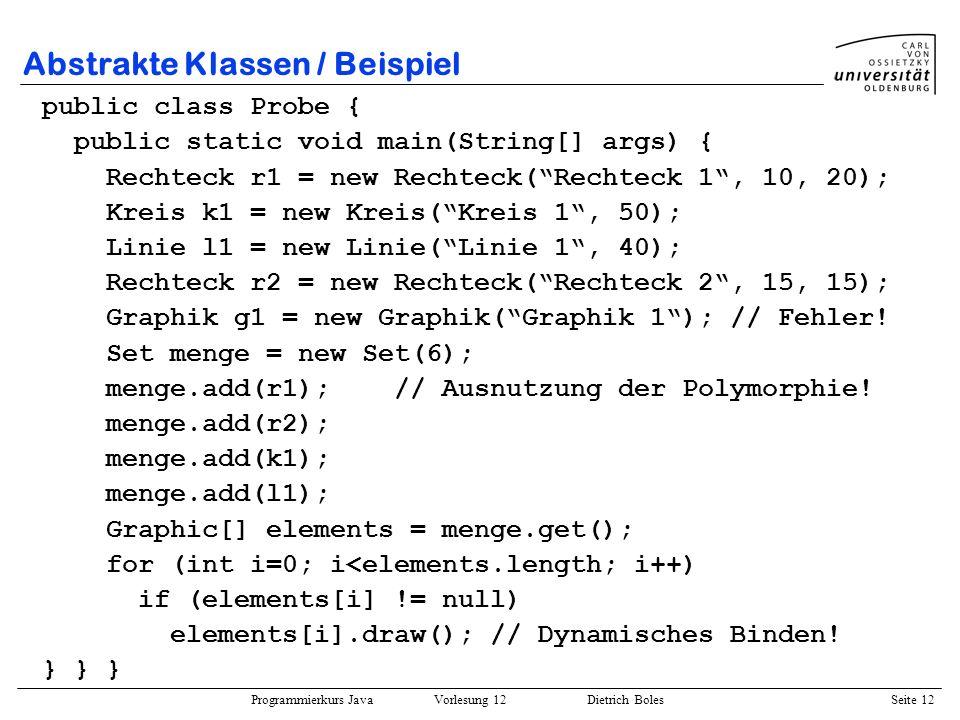 Abstrakte Klassen / Beispiel