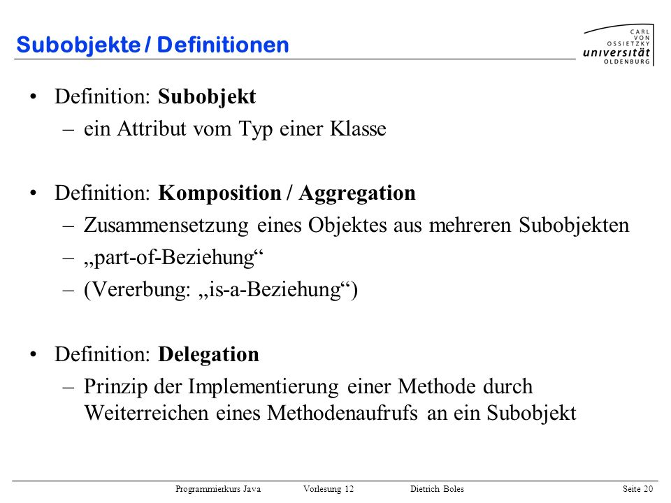 Subobjekte / Definitionen
