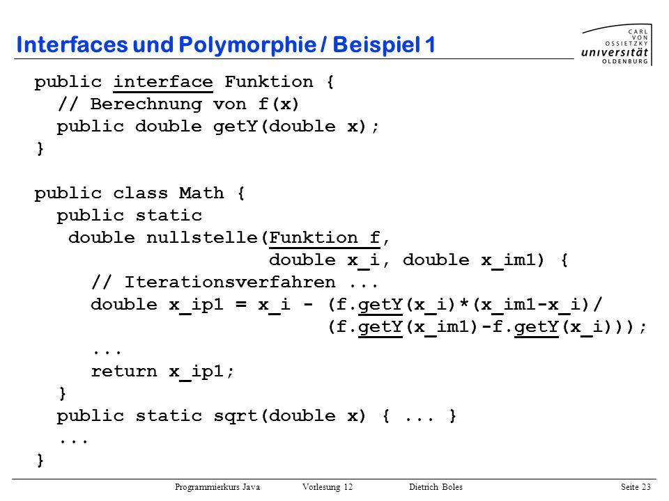 Interfaces und Polymorphie / Beispiel 1