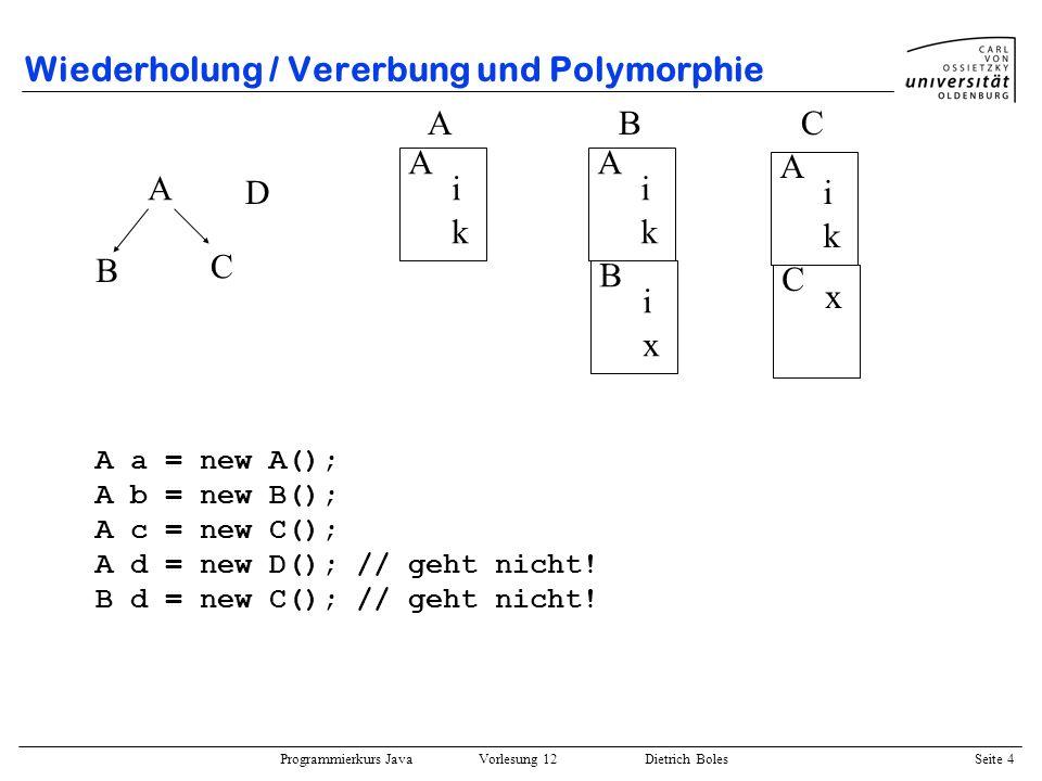 Wiederholung / Vererbung und Polymorphie