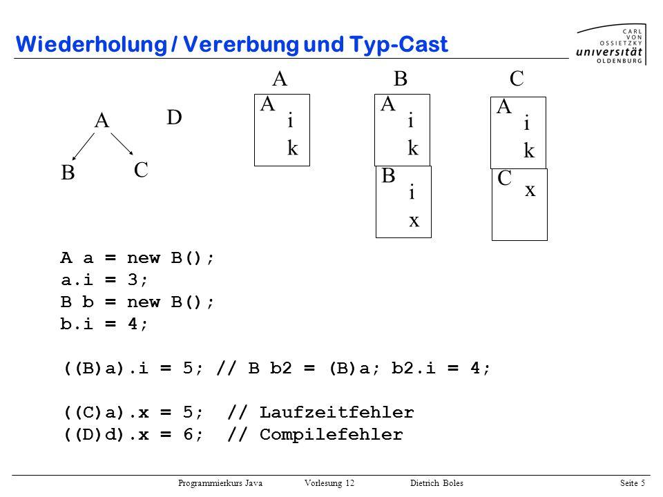 Wiederholung / Vererbung und Typ-Cast