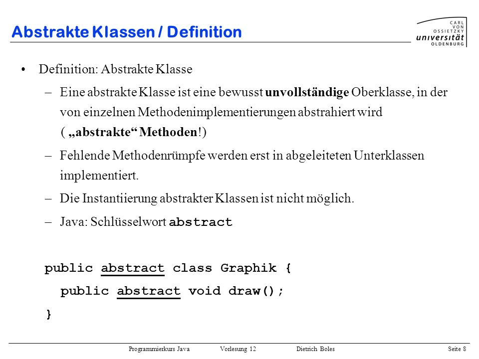 Abstrakte Klassen / Definition