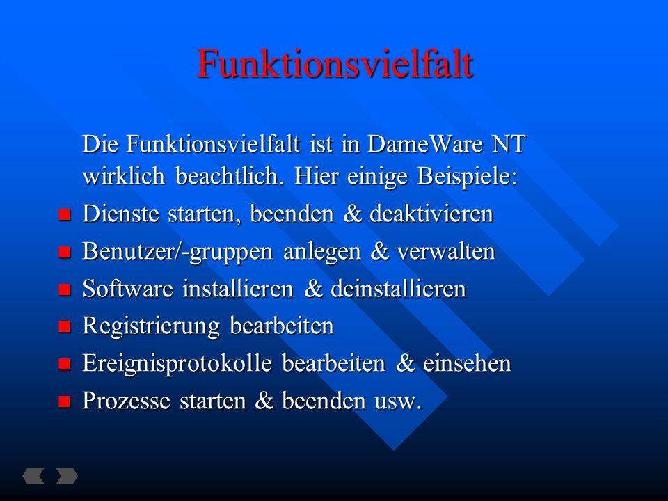 Funktionsvielfalt Die Funktionsvielfalt ist in DameWare NT wirklich beachtlich. Hier einige Beispiele: