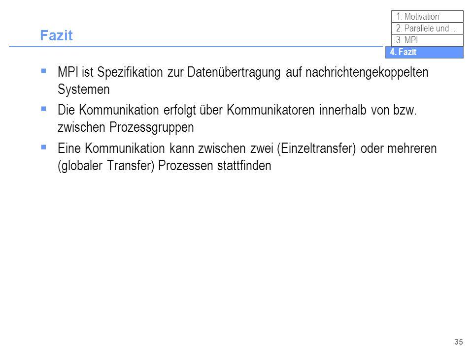 Fazit1. Motivation. 2. Parallele und … 3. MPI. 4. Fazit. MPI ist Spezifikation zur Datenübertragung auf nachrichtengekoppelten Systemen.