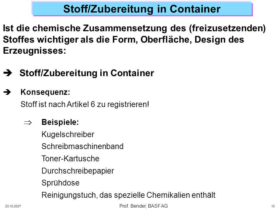 Stoff/Zubereitung in Container