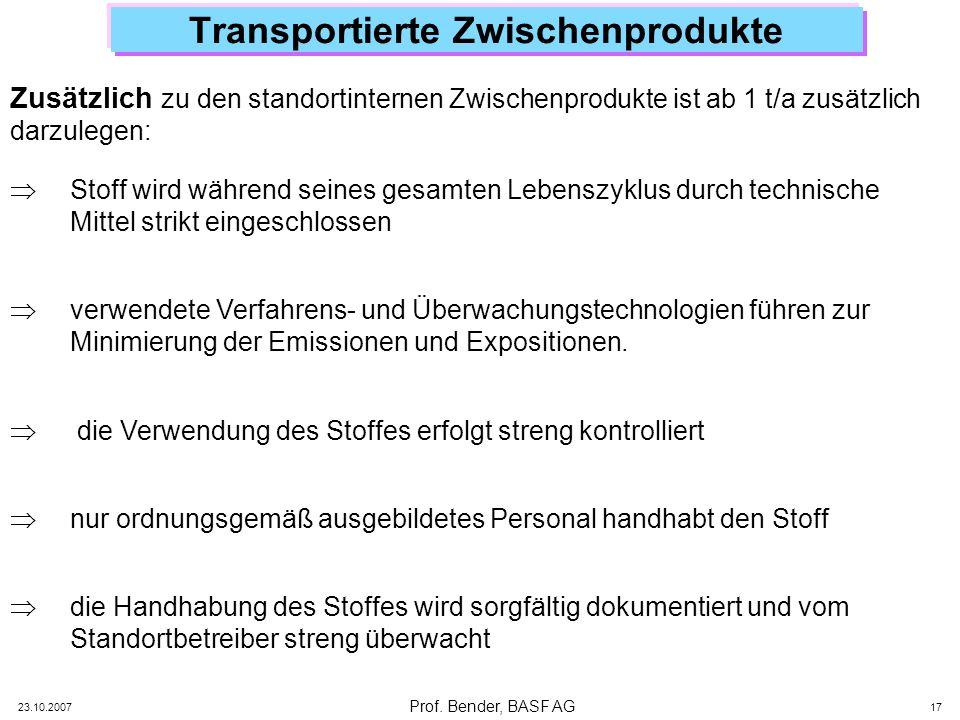 Transportierte Zwischenprodukte