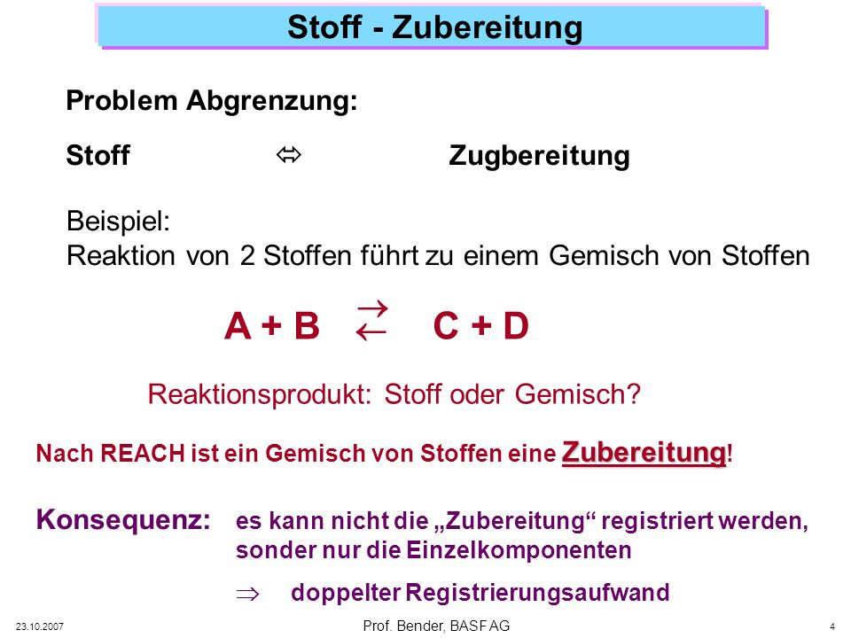 A + B C + D Stoff - Zubereitung   Problem Abgrenzung: