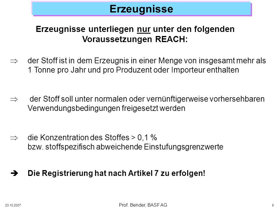 Erzeugnisse unterliegen nur unter den folgenden Voraussetzungen REACH: