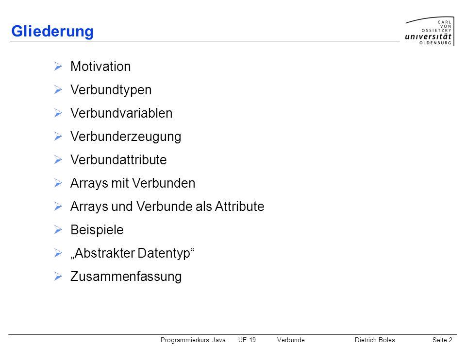 Gliederung Motivation Verbundtypen Verbundvariablen Verbunderzeugung