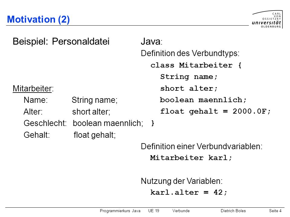 Beispiel: Personaldatei Java: