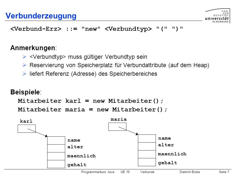 Verbunderzeugung <Verbund-Erz> ::= new <Verbundtyp> ( ) Anmerkungen: <Verbundtyp> muss gültiger Verbundtyp sein.