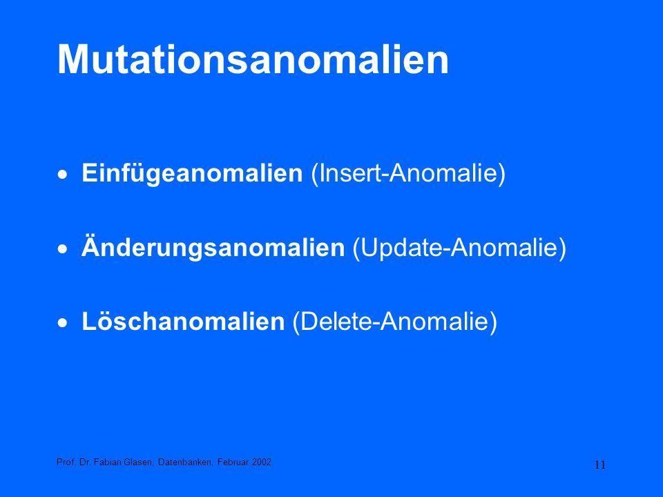 Mutationsanomalien Einfügeanomalien (Insert-Anomalie)