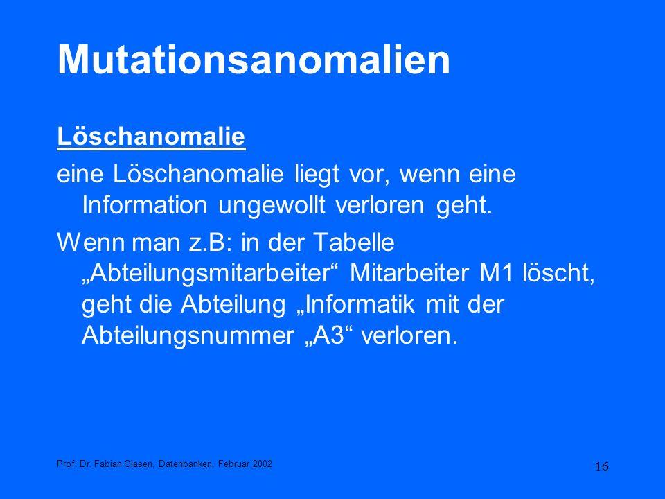 Mutationsanomalien Löschanomalie