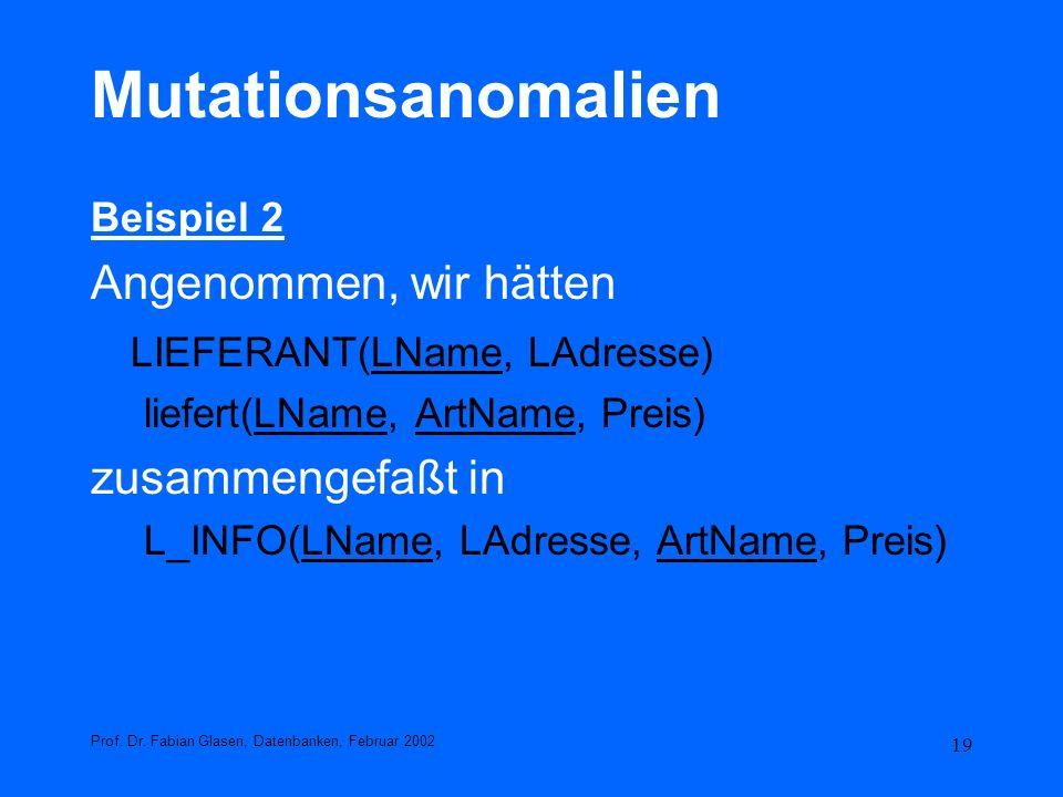 Mutationsanomalien Angenommen, wir hätten LIEFERANT(LName, LAdresse)