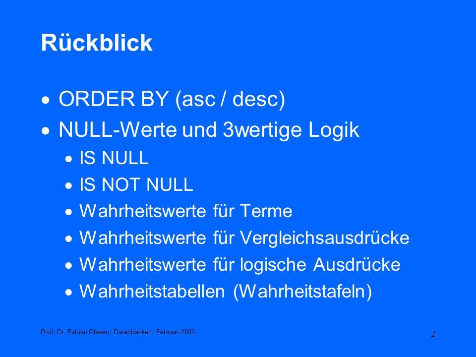 Rückblick ORDER BY (asc / desc) NULL-Werte und 3wertige Logik IS NULL