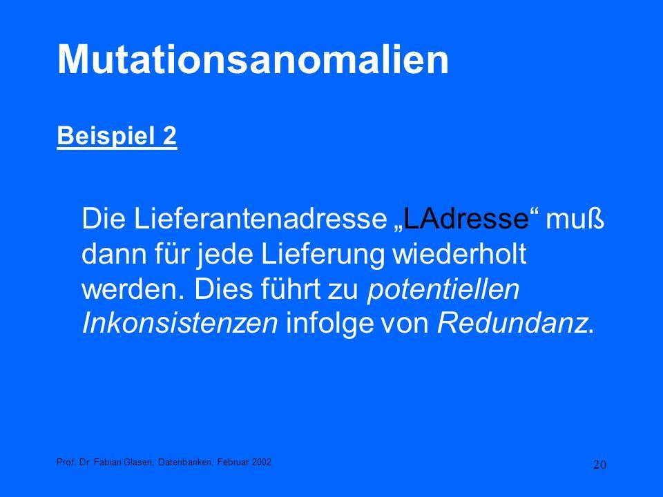 Mutationsanomalien Beispiel 2.