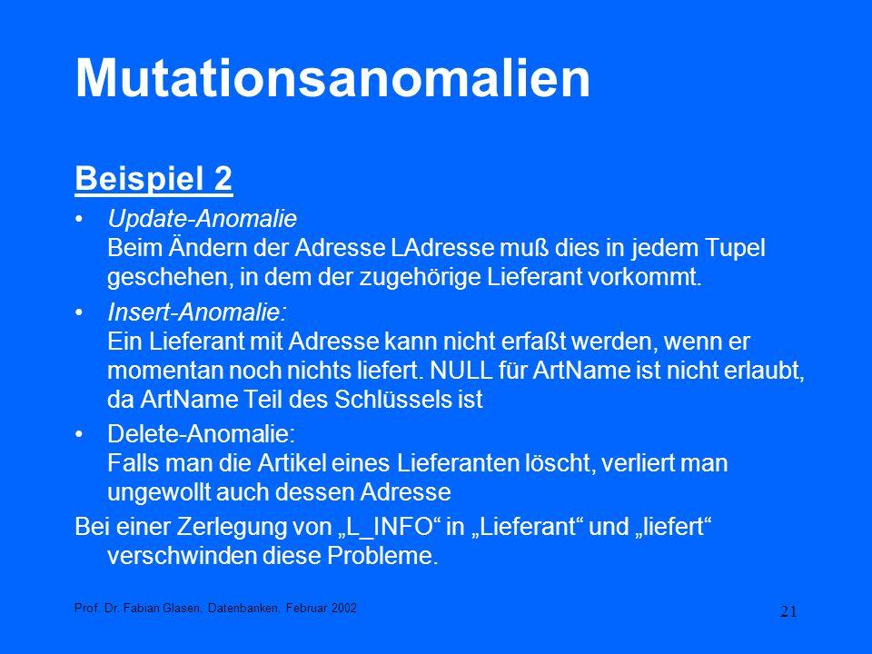 Mutationsanomalien Beispiel 2