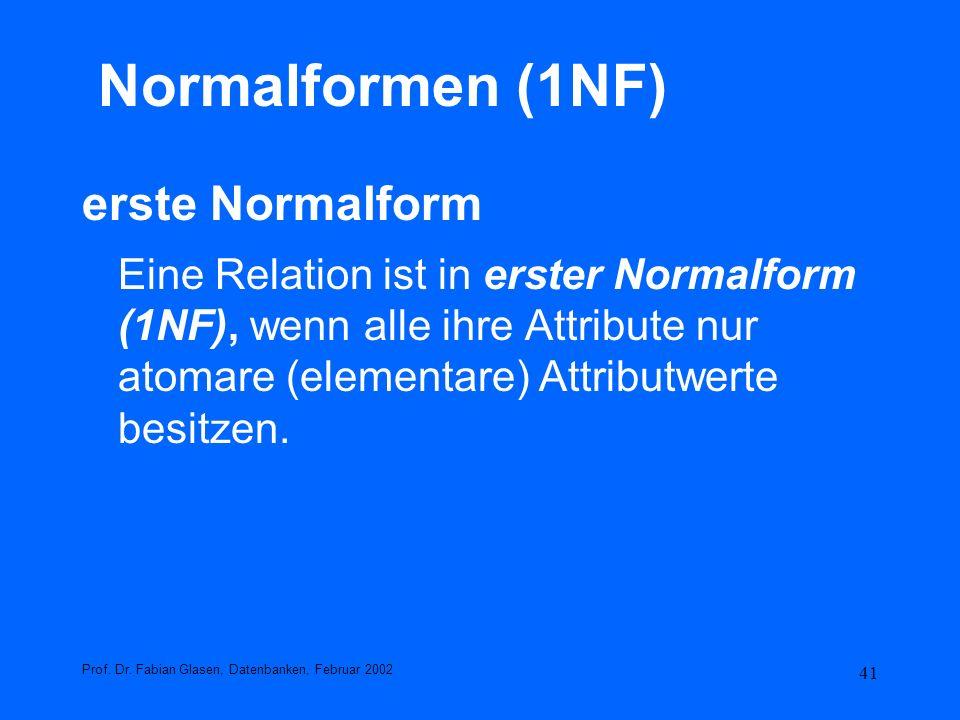 Normalformen (1NF) erste Normalform