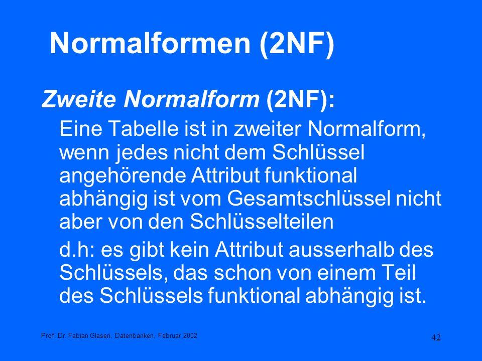 Normalformen (2NF) Zweite Normalform (2NF):