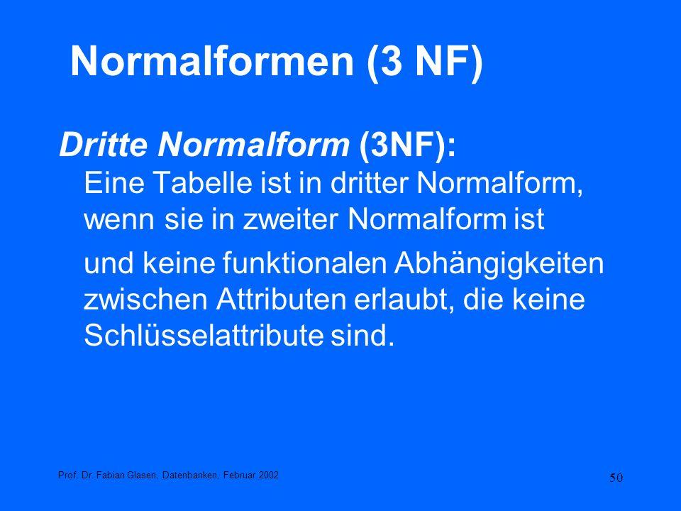 Normalformen (3 NF) Dritte Normalform (3NF): Eine Tabelle ist in dritter Normalform, wenn sie in zweiter Normalform ist.