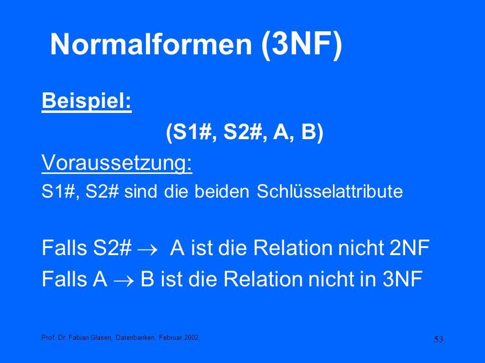 Normalformen (3NF) Beispiel: (S1#, S2#, A, B) Voraussetzung: