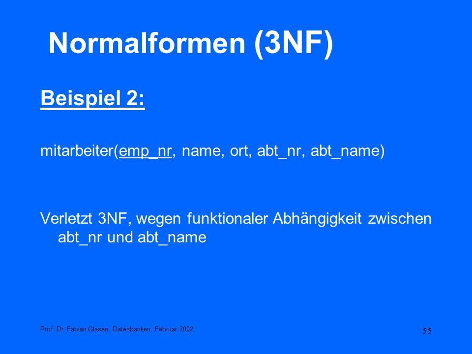 Normalformen (3NF) Beispiel 2: