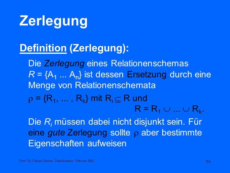 Zerlegung Definition (Zerlegung):