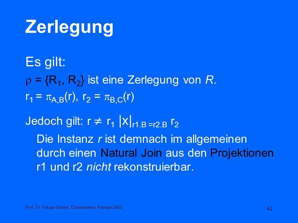 Zerlegung Es gilt:  = {R1, R2} ist eine Zerlegung von R.