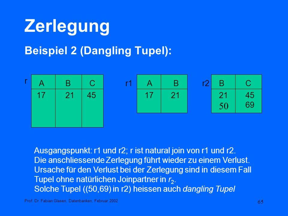 Zerlegung Beispiel 2 (Dangling Tupel): 50 r A B C 17 21 45 69 r1 r2