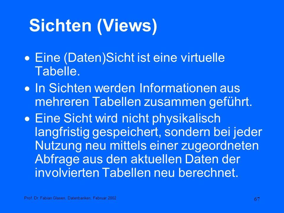 Sichten (Views) Eine (Daten)Sicht ist eine virtuelle Tabelle.