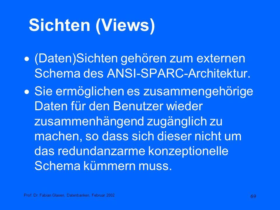 Sichten (Views) (Daten)Sichten gehören zum externen Schema des ANSI-SPARC-Architektur.
