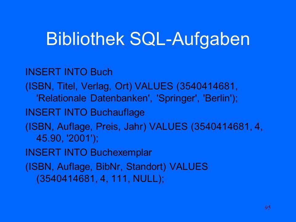 Bibliothek SQL-Aufgaben