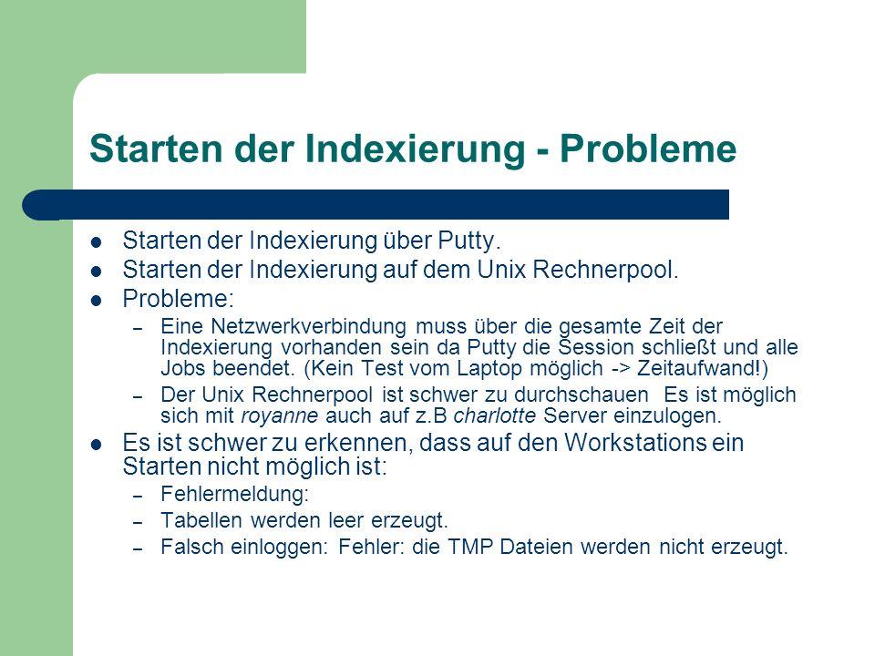 Starten der Indexierung - Probleme