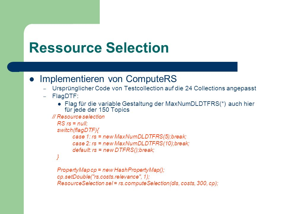Ressource Selection Implementieren von ComputeRS
