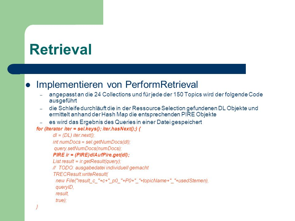 Retrieval Implementieren von PerformRetrieval