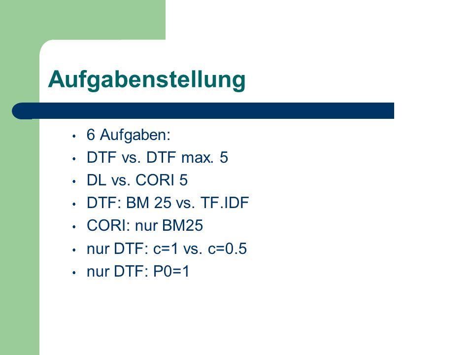 Aufgabenstellung 6 Aufgaben: DTF vs. DTF max. 5 DL vs. CORI 5