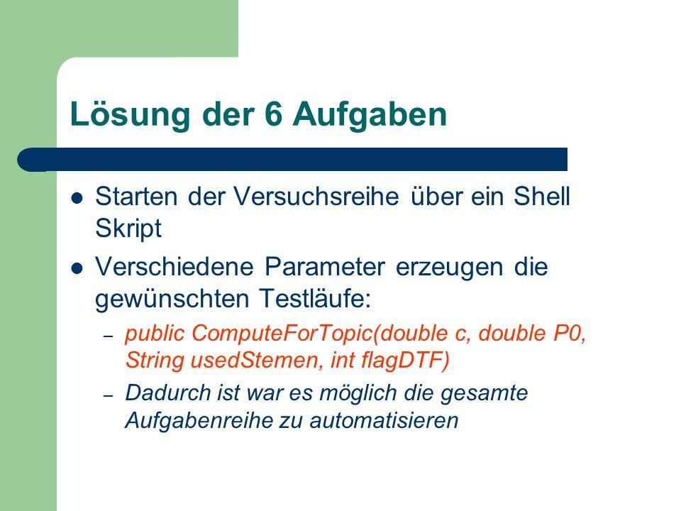 Lösung der 6 Aufgaben Starten der Versuchsreihe über ein Shell Skript