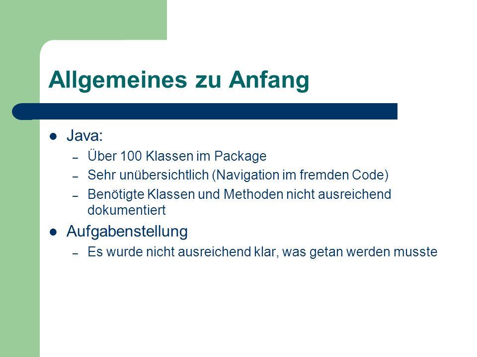 Allgemeines zu Anfang Java: Aufgabenstellung