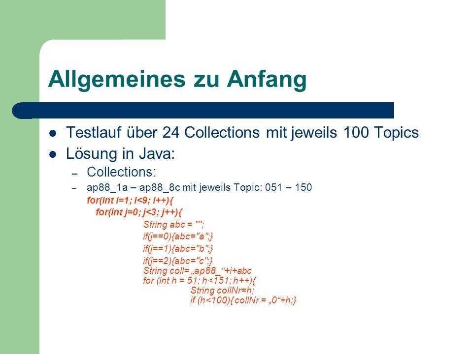Allgemeines zu Anfang Testlauf über 24 Collections mit jeweils 100 Topics. Lösung in Java: Collections: