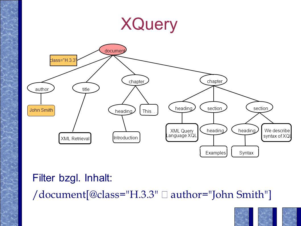 XQuery Filter bzgl. Inhalt: