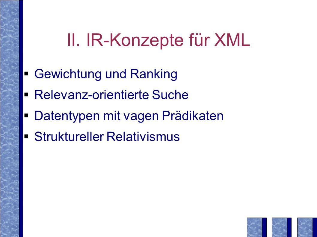 II. IR-Konzepte für XML Gewichtung und Ranking