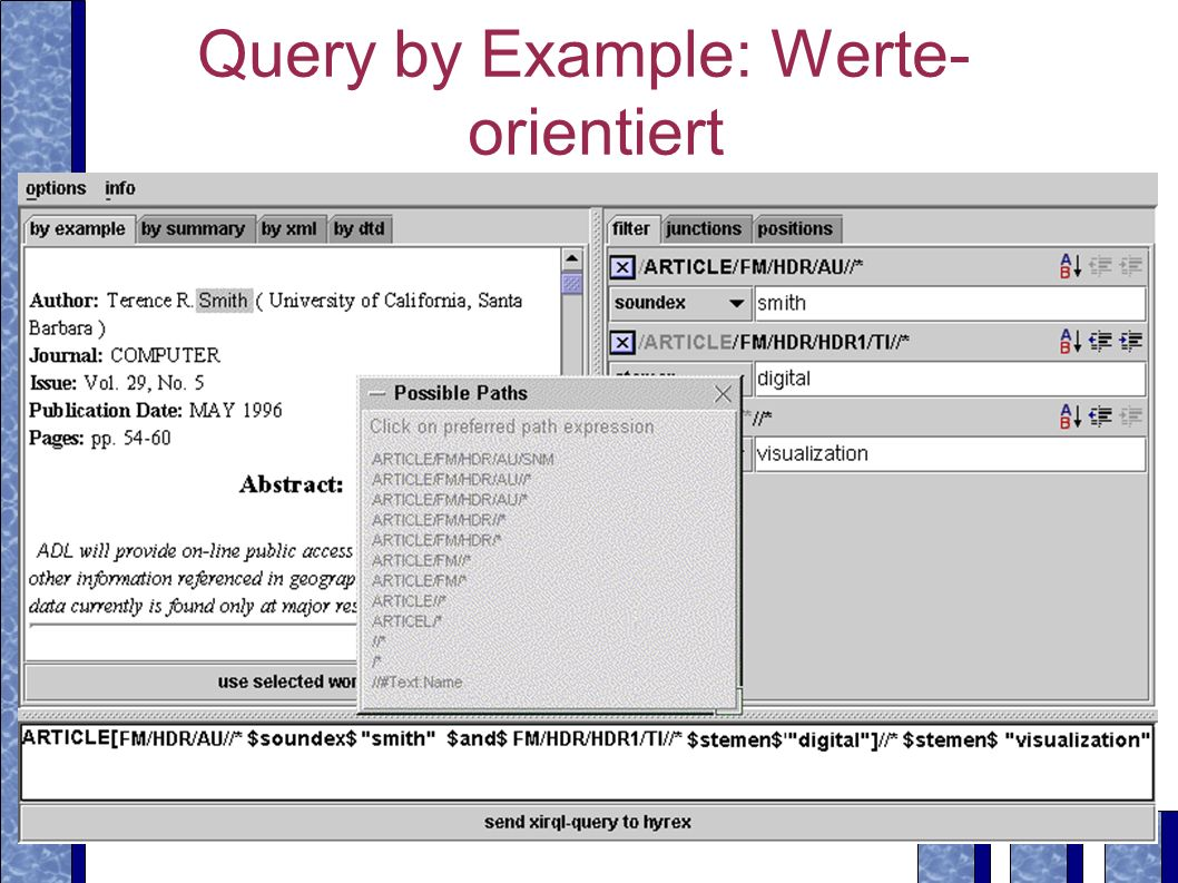 Query by Example: Werte-orientiert
