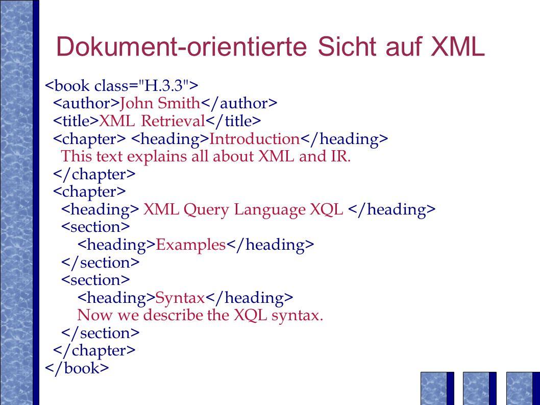Dokument-orientierte Sicht auf XML