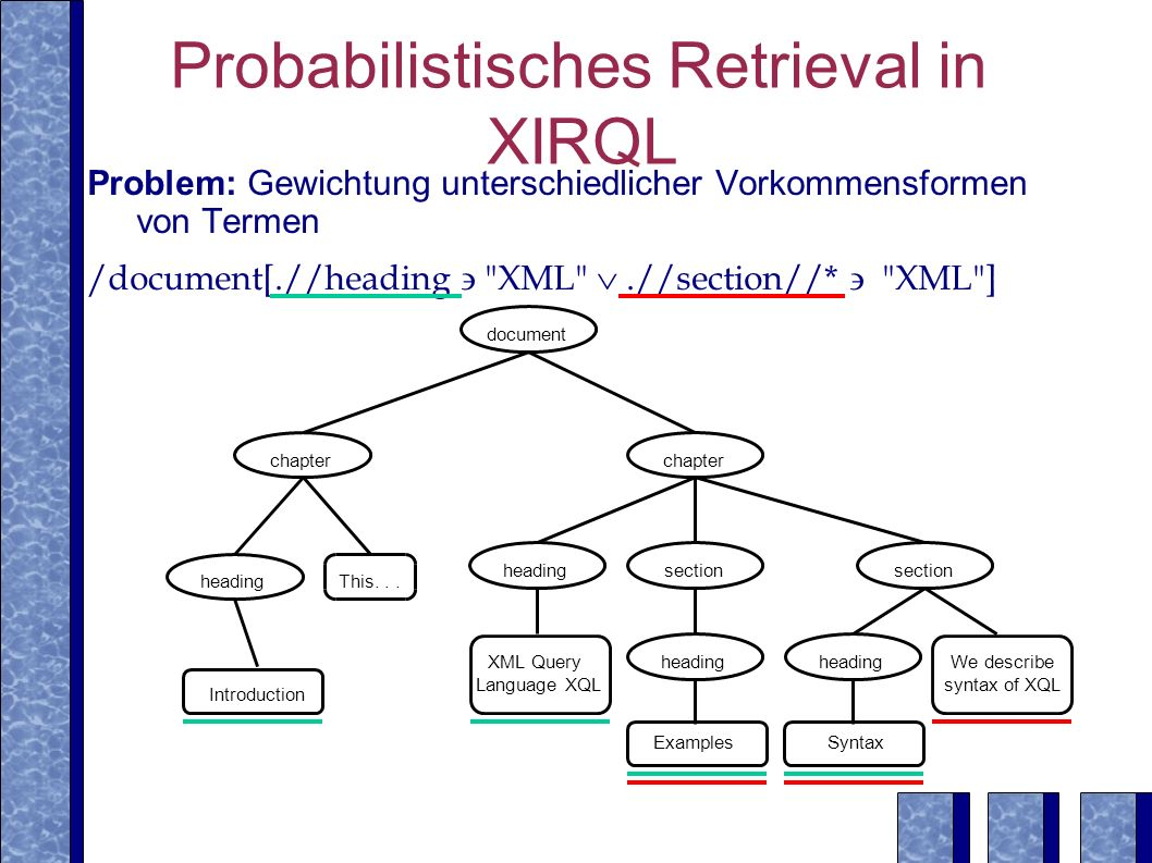 Probabilistisches Retrieval in XIRQL