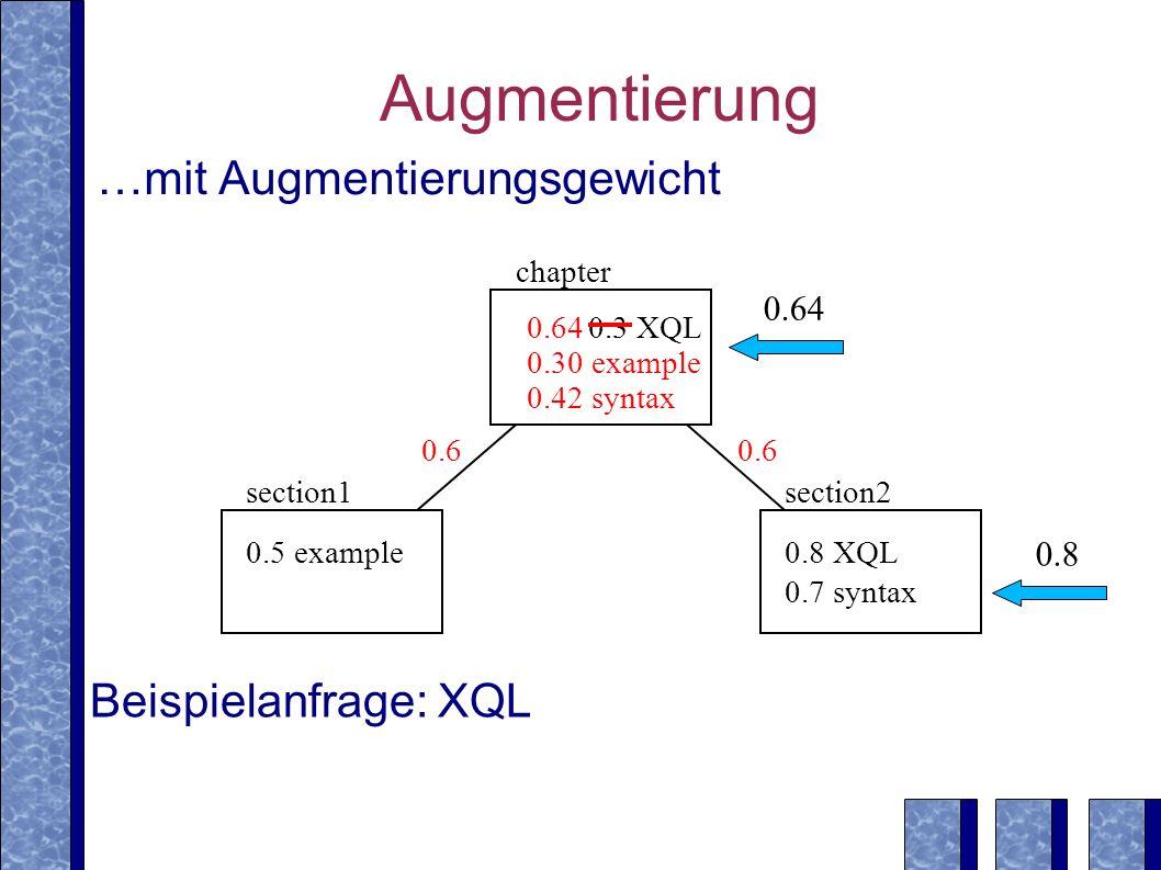 Augmentierung …mit Augmentierungsgewicht Beispielanfrage: XQL 0.64 0.8