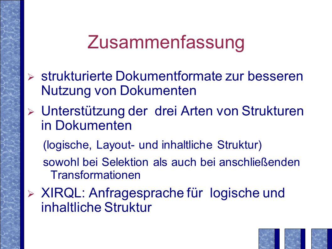 Zusammenfassungstrukturierte Dokumentformate zur besseren Nutzung von Dokumenten. Unterstützung der drei Arten von Strukturen in Dokumenten.