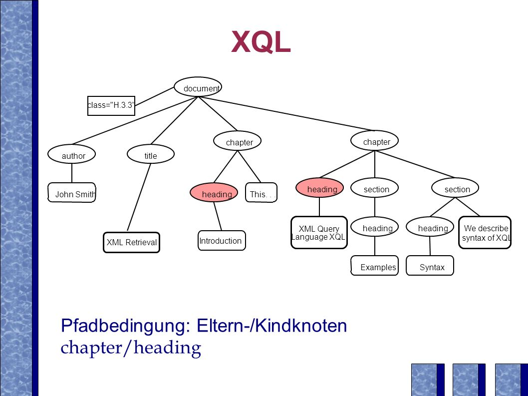 XQL Pfadbedingung: Eltern-/Kindknoten chapter/heading document