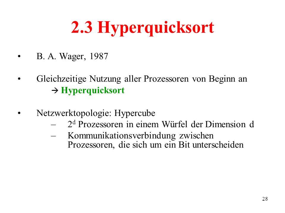 2.3 Hyperquicksort B. A. Wager, 1987