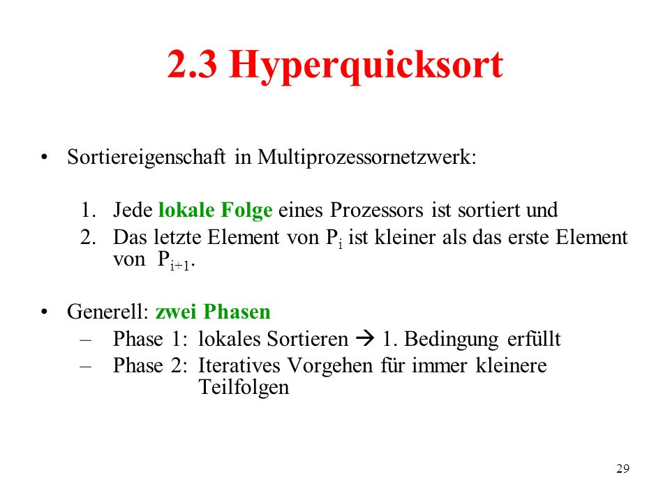 2.3 Hyperquicksort Sortiereigenschaft in Multiprozessornetzwerk: