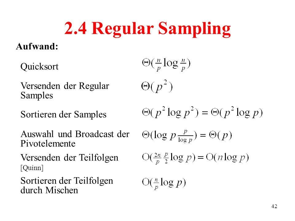2.4 Regular Sampling Aufwand: Quicksort Versenden der Regular Samples